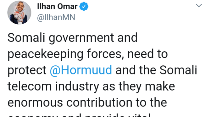 Ilhan Omar: The Somali govt has condemned Kenya forces for destroying Hormud telecom